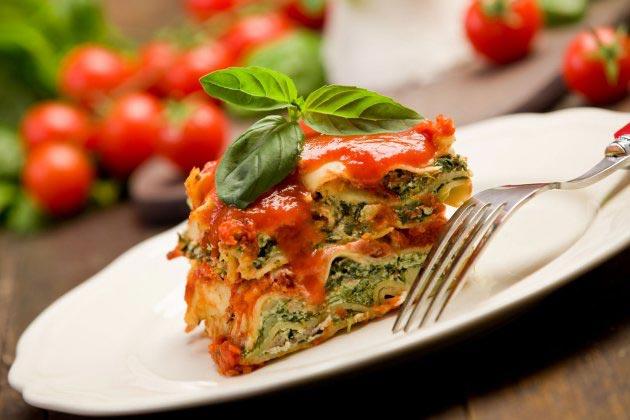 vegetarisk lasagne aubergine spenat
